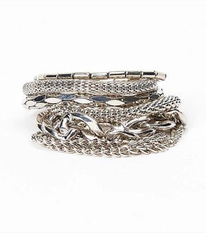 Chain Bracelet Set RHODIUM