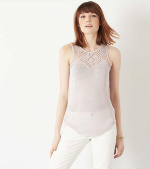 Sweater Tank with Crochet GRAY LILAC