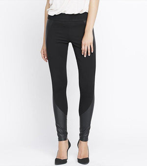 Faux Leather Panel High Rise Legging JET BLACK