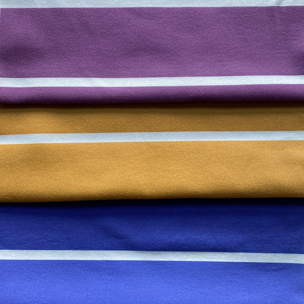 New stripes! Meet Plum, Blueberry and Mustard.