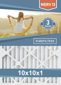 Pleated 10x10x1 Furnace Filters - (3-Pack) - MERV 8, MERV 11 and MERV 13 - PureFilters.ca