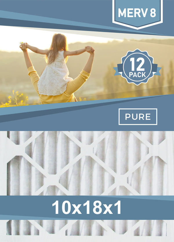 Pleated 10x18x1 Furnace Filters - (12-Pack) - Custom Size MERV 8 and MERV 11 - PureFilters