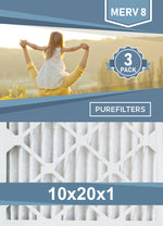 Pleated 10x20x1 Furnace Filters - (3-Pack) - MERV 8, MERV 11 and MERV 13 - PureFilters.ca