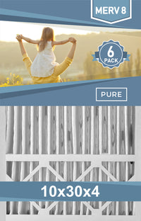 Pleated 10x30x4 Furnace Filters - (6-Pack) - Custom Size MERV 8 and MERV 11 - PureFilters