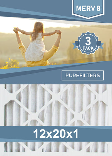 Pleated 12x20x1 Furnace Filters - (3-Pack) - MERV 8, MERV 11 and MERV 13