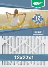 Pleated 12x22x1 Furnace Filters - (12-Pack) - Custom Size MERV 8 and MERV 11 - PureFilters