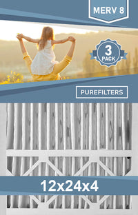 Pleated 12x24x4 Furnace Filters - (3-Pack) - MERV 8, MERV 11 and MERV 13 - PureFilters.ca