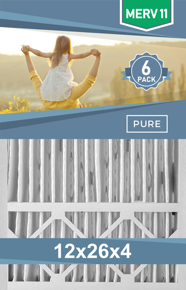 Pleated 12x26x4 Furnace Filters - (6-Pack) - Custom Size MERV 8 and MERV 11 - PureFilters