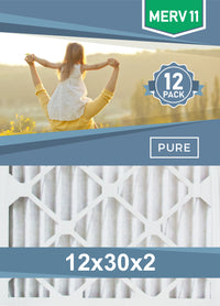 Pleated 12x30x2 Furnace Filters - (12-Pack) - Custom Size MERV 8 and MERV 11 - PureFilters