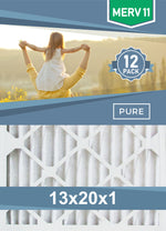 Pleated 13x20x1 Furnace Filters - (12-Pack) - Custom Size MERV 8 and MERV 11 - PureFilters