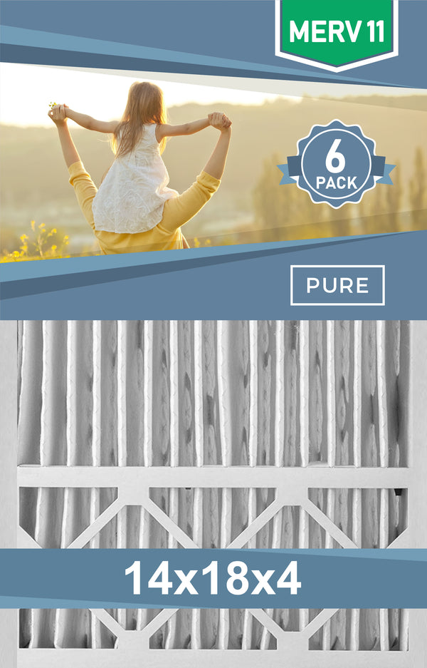Pleated 14x18x4 Furnace Filters - (6-Pack) - Custom Size MERV 8 and MERV 11 - PureFilters
