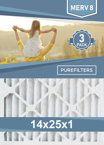 Pleated 14x25x1 Furnace Filters - (3-Pack) - MERV 8, MERV 11 and MERV 13