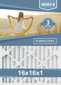 Pleated 16x16x1 Furnace Filters - (3-Pack) - MERV 8, MERV 11 and MERV 13