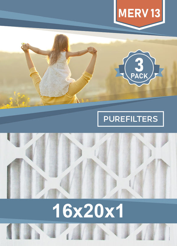 Pleated 16x20x1 Furnace Filters - (3-Pack) - MERV 8, MERV 11 and MERV 13 - PureFilters.ca