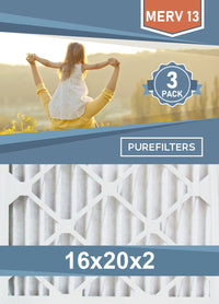 Pleated 16x20x2 Furnace Filters - (3-Pack) - MERV 8, MERV 11 and MERV 13 - PureFilters.ca
