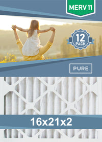 Pleated 16x21x2 Furnace Filters - (12-Pack)  - Custom Size MERV 8 and MERV 11 - PureFilters