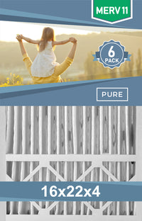 Pleated 16x22x4 Furnace Filters - (6-Pack) - Custom Size MERV 8 and MERV 11 - PureFilters