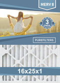 Pleated 16x25x1 Furnace Filters - (3-Pack) - MERV 8, MERV 11 and MERV 13
