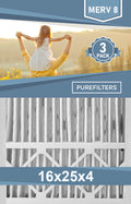 Pleated 16x25x4 Furnace Filters - (3-Pack) - MERV 8, MERV 11 and MERV 13