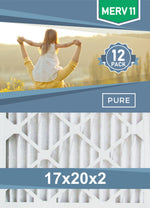 Pleated 17x20x2 Furnace Filters - (12-Pack) - Custom Size MERV 8 and MERV 11 - PureFilters