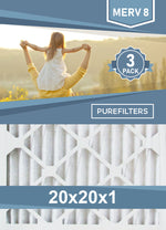 Pleated 20x20x1 Furnace Filters - (3-Pack) - MERV 8, MERV 11 and MERV 13 - PureFilters.ca