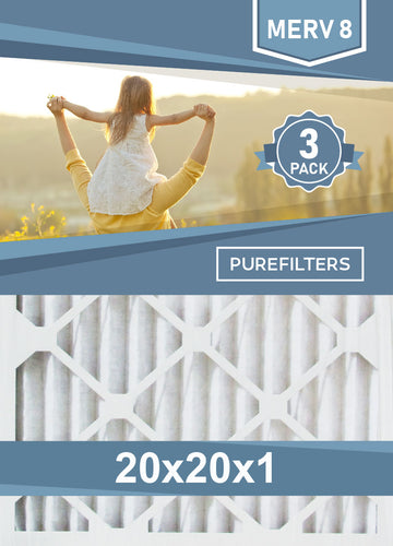 Pleated 20x20x1 Furnace Filters - (3-Pack) - MERV 8, MERV 11 and MERV 13