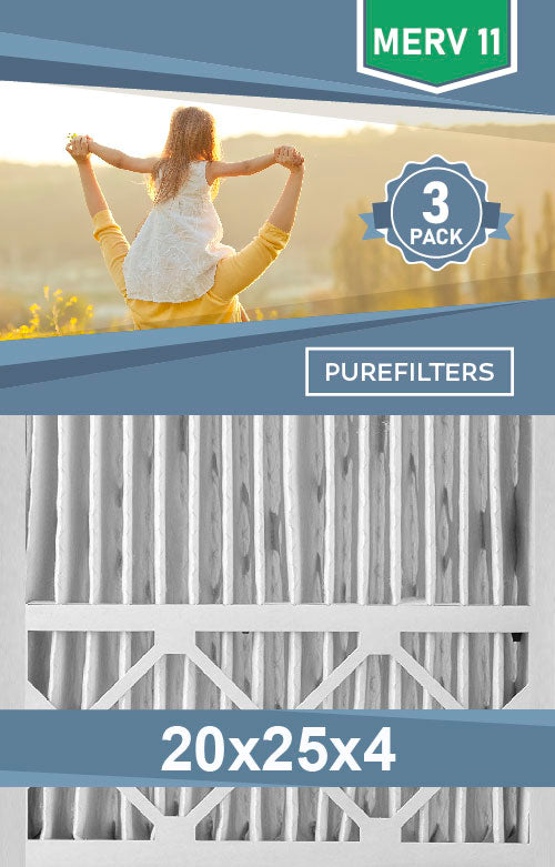Pleated 20x25x4 Furnace Filters - (3-Pack) - MERV 8, MERV 11 and MERV 13 - PureFilters.ca