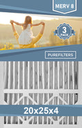 Pleated 20x25x4 Furnace Filters - (3-Pack) - MERV 8, MERV 11 and MERV 13