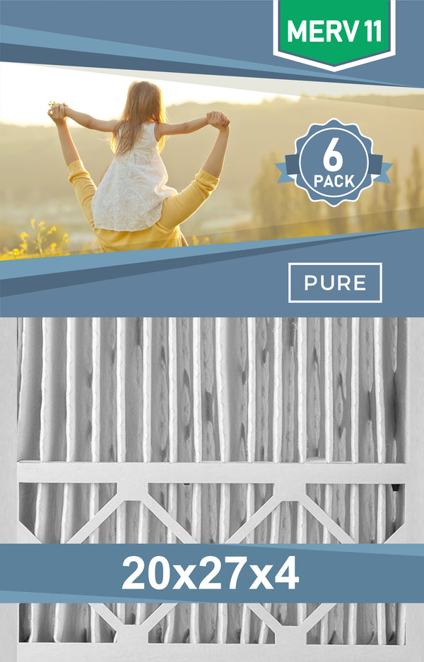 Pleated 20x27x4 Furnace Filters - (6-Pack) - Custom Size MERV 8 and MERV 11 - PureFilters