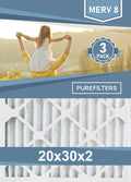 Pleated 20x30x2 Furnace Filters - (3-Pack) - MERV 8, MERV 11 and MERV 13