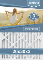 Pleated 20x30x2 Furnace Filters - (3-Pack) - MERV 8, MERV 11 and MERV 13 - PureFilters.ca