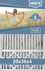 Pleated 20x36x4 Furnace Filters - (6-Pack) - Custom Size MERV 8 and MERV 11 - PureFilters