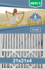 Pleated 21x21x4 Furnace Filters - (6-Pack) - Custom Size MERV 8 and MERV 11 - PureFilters