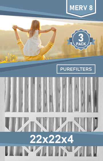 Pleated 22x22x4 Furnace Filters - (3-Pack) - MERV 8 and MERV 11