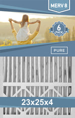 Pleated 23x25x4 Furnace Filters - (6-Pack) - Custom Size MERV 8 and MERV 11 - PureFilters