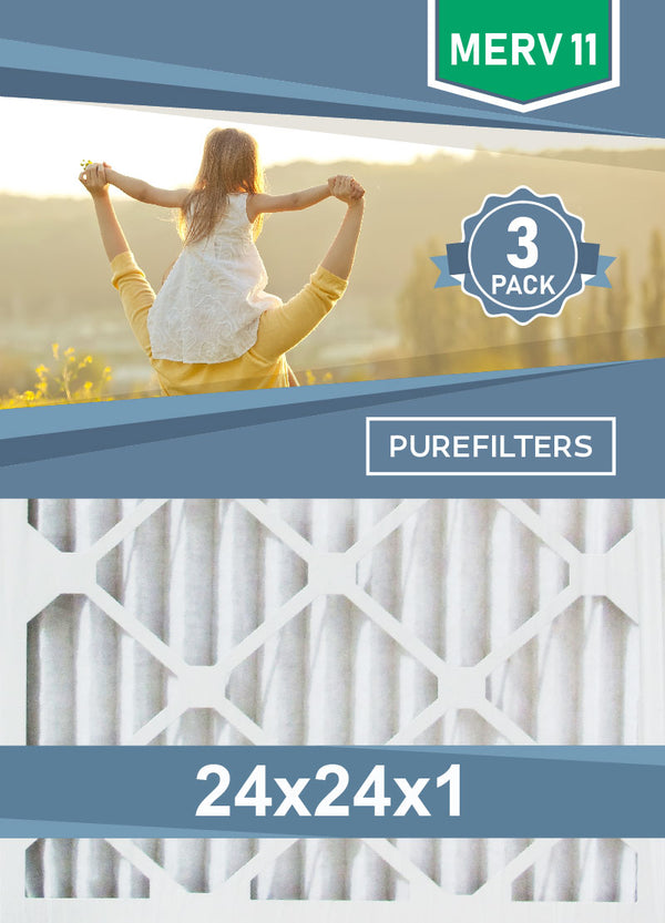 Pleated 24x24x1 Furnace Filters - (3-Pack) - MERV 8, MERV 11 and MERV 13 - PureFilters.ca