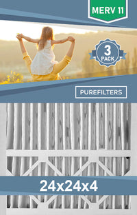 Pleated 24x24x4 Furnace Filters - (3-Pack) - MERV 8, MERV 11 and MERV 13 - PureFilters.ca