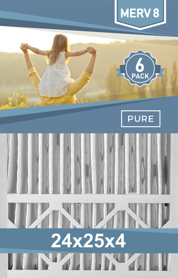 Pleated 24x25x4 Furnace Filters - (6-Pack) - Custom Size MERV 8 and MERV 11