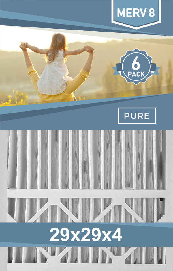 Pleated 29x29x4 Furnace Filters - (6-Pack) - Custom Size MERV 8 and MERV 11 - PureFilters