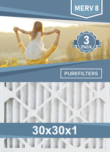 Pleated 30x30x1 Furnace Filters - (3-Pack) - MERV 8 and MERV 11