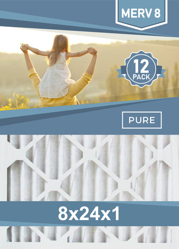 Pleated 8x24x1 Furnace Filters - (12-Pack) - Custom Size MERV 8 and MERV 11