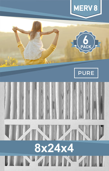 Pleated 8x24x4 Furnace Filters - (6-Pack) - Custom Size MERV 8 and MERV 11