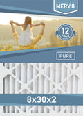 Pleated 8x30x2 Furnace Filters - (12-Pack) - Custom Size MERV 8 and MERV 11