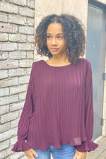 Plum Pleated Blouse