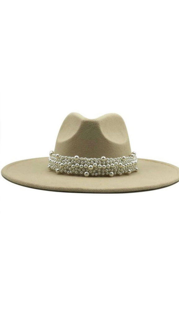 Wide Brim Beige Fedora With Pearls