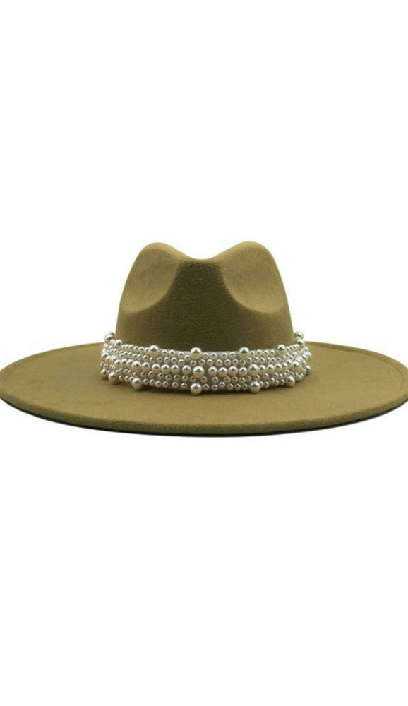 Wide Brim Light Khaki Fedora With Pearls - Fabuluxe Boutique