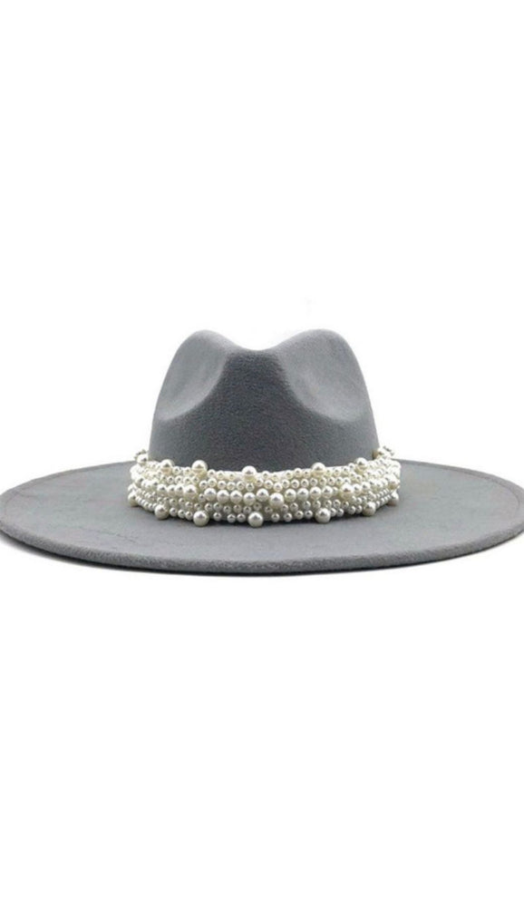 Wide Brim Grey Fedora With Pearls