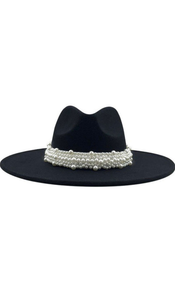 Wide Brim Black Fedora With Pearls - Fabuluxe Boutique