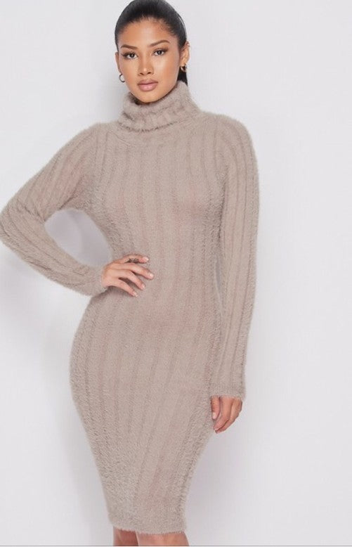 Turtle Neck Fuzzy Knit Dress PREORDER