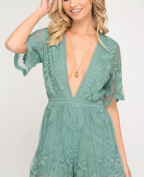 Floral Lace Romper PREORDER
